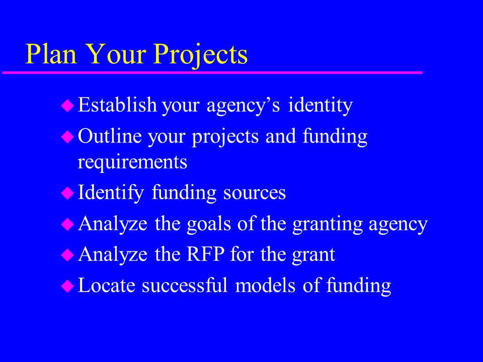 Plan Your Projects u Establish your agency's identity u Outline your projects and funding requirements u Identify funding sources u Analyze the goals of the granting agency u Analyze the RFP for the grant u Locate successful models of funding