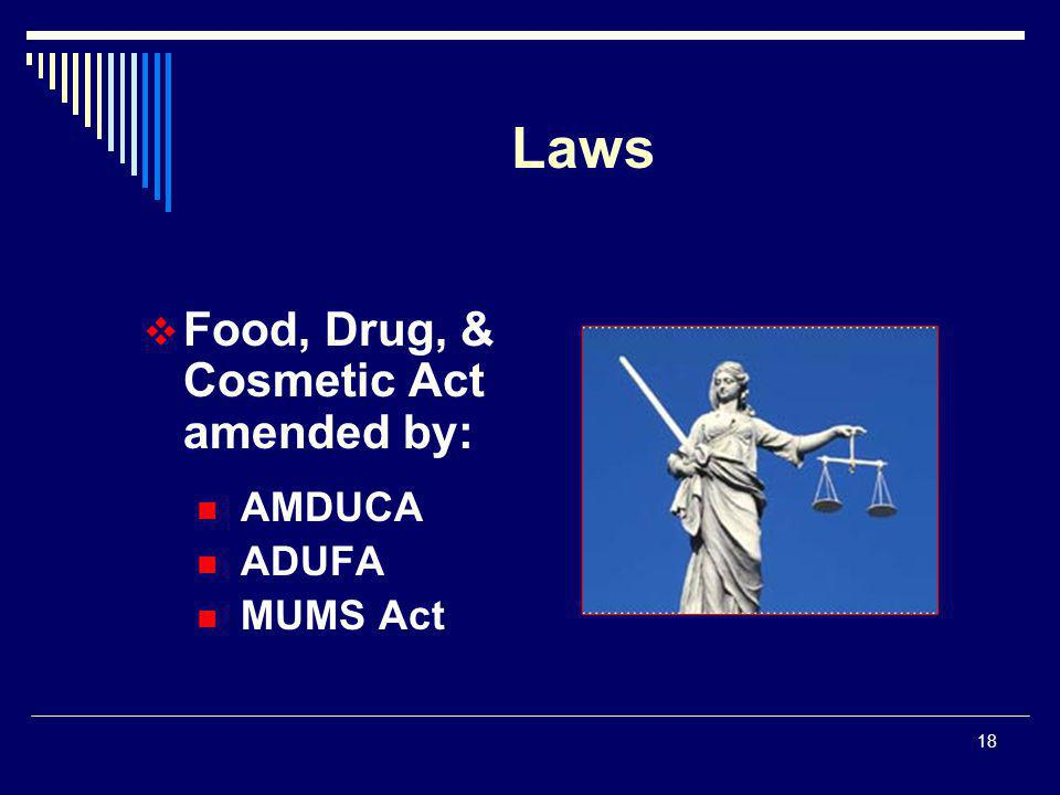 18  Food, Drug, & Cosmetic Act amended by: AMDUCA ADUFA MUMS Act Laws
