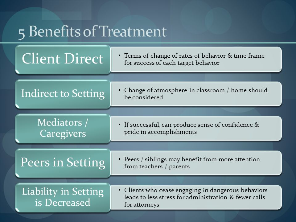 5 Benefits of Treatment Terms of change of rates of behavior & time frame for success of each target behavior Client Direct Change of atmosphere in classroom / home should be considered Indirect to Setting If successful, can produce sense of confidence & pride in accomplishments Mediators / Caregivers Peers / siblings may benefit from more attention from teachers / parents Peers in Setting Clients who cease engaging in dangerous behaviors leads to less stress for administration & fewer calls for attorneys Liability in Setting is Decreased