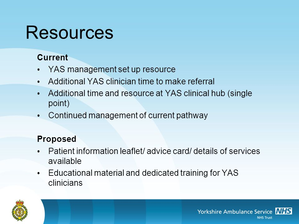 Resources Current YAS management set up resource Additional YAS clinician time to make referral Additional time and resource at YAS clinical hub (sing