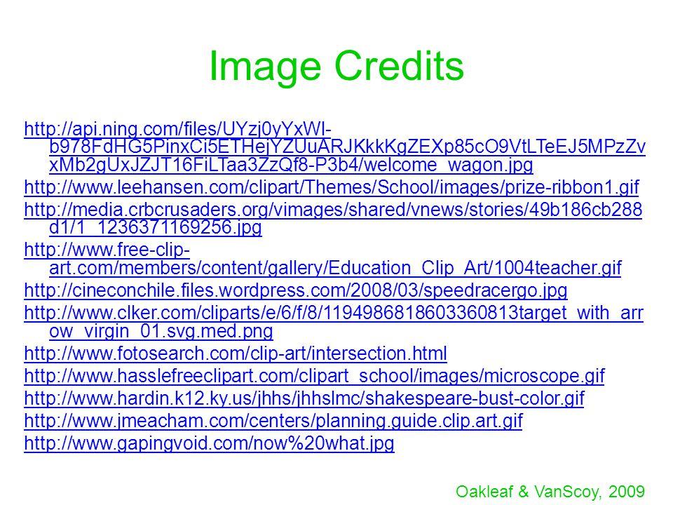 Oakleaf & VanScoy, 2009 Image Credits http://api.ning.com/files/UYzj0yYxWl- b978FdHG5PinxCi5ETHejYZUuARJKkkKgZEXp85cO9VtLTeEJ5MPzZv xMb2gUxJZJT16FiLTa