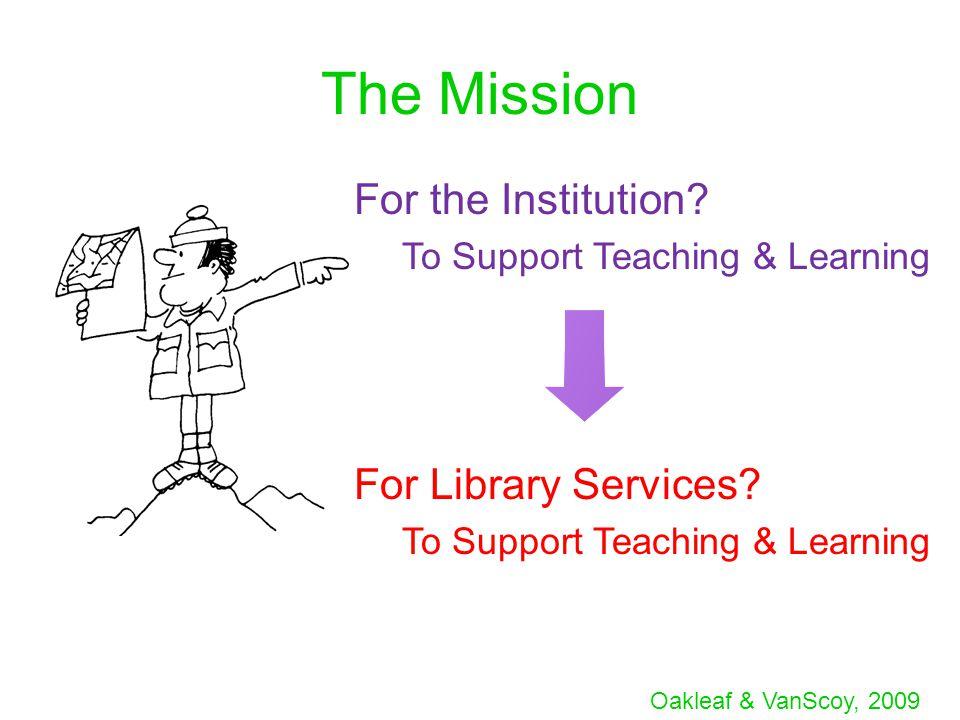 Oakleaf & VanScoy, 2009 The Mission For the Institution.