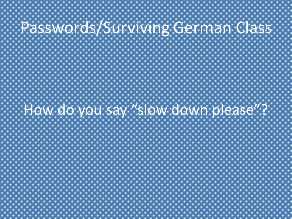 Passwords/Surviving German Class How do you say slow down please