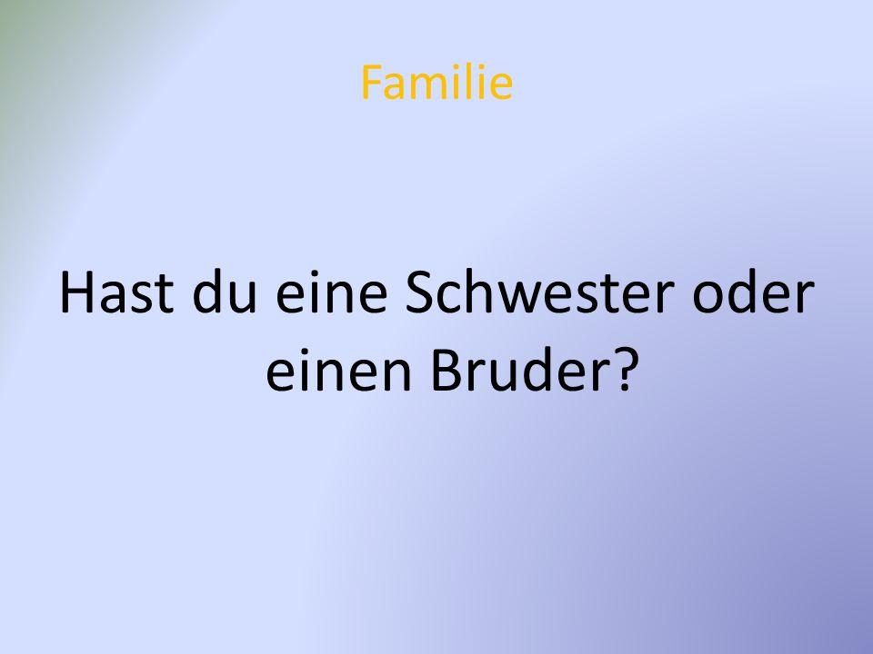 Familie Hast du eine Schwester oder einen Bruder