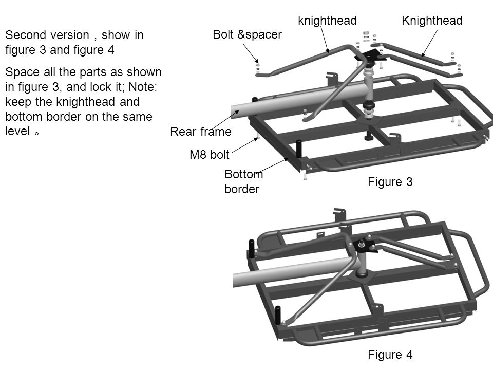 M8 bolt Bottom border Rear frame Second version , show in figure 3 and figure 4 Space all the parts as shown in figure 3, and lock it; Note: keep the
