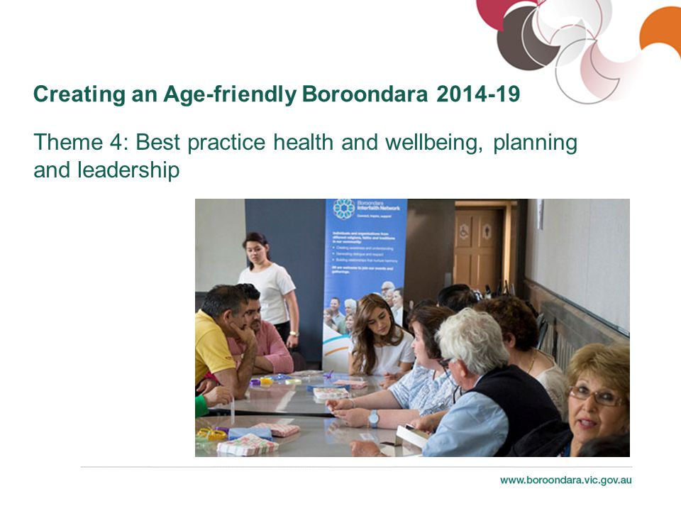 Creating an Age-friendly Boroondara 2014-19 Theme 4: Best practice health and wellbeing, planning and leadership