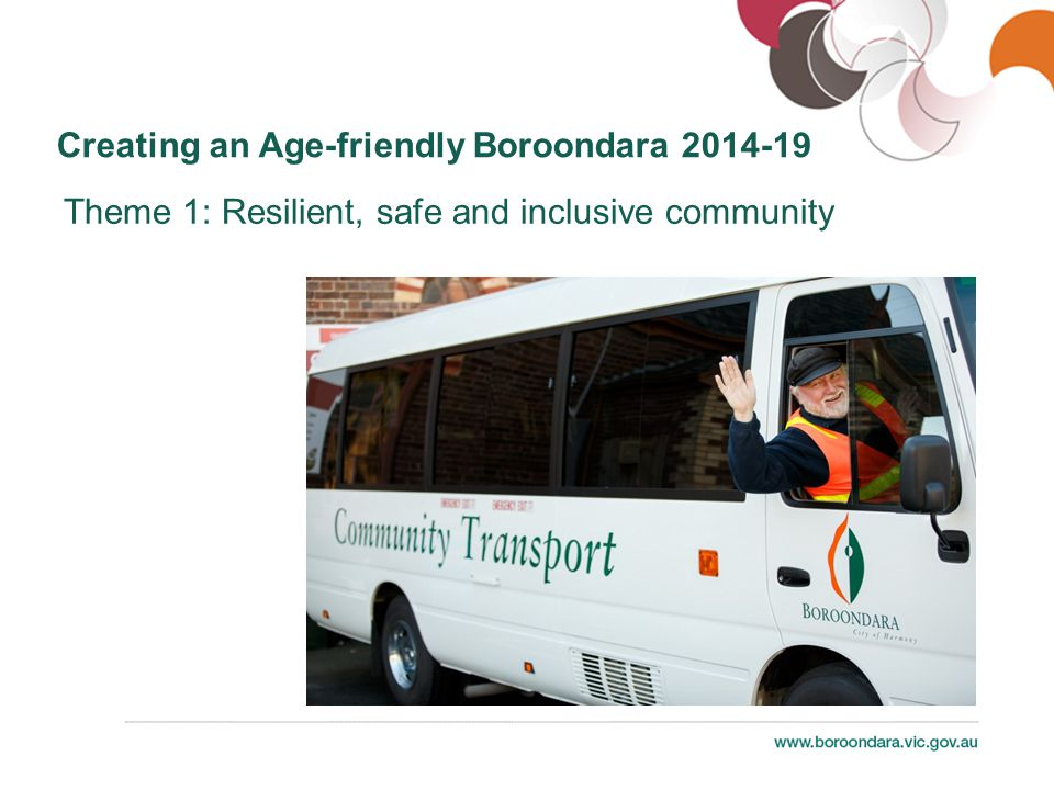 Creating an Age-friendly Boroondara 2014-19 Theme 2: Liveable, sustainable, health-promoting City