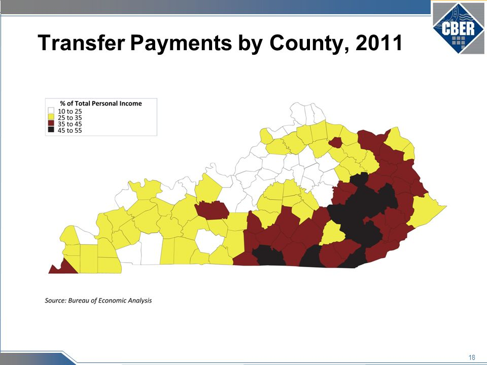 18 Transfer Payments by County, 2011
