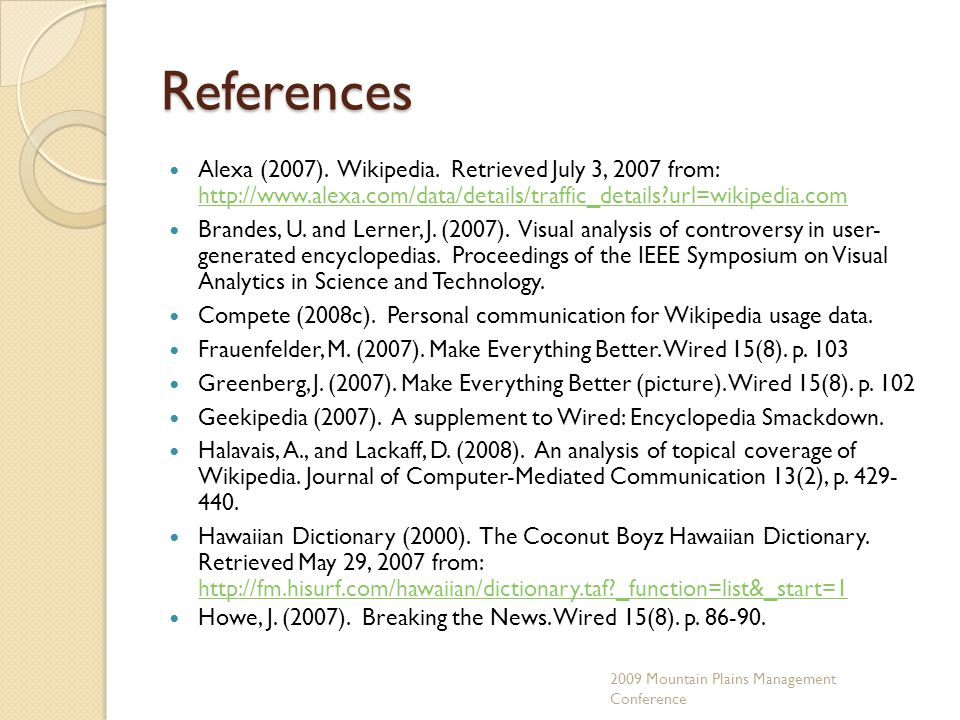 References Alexa (2007). Wikipedia.