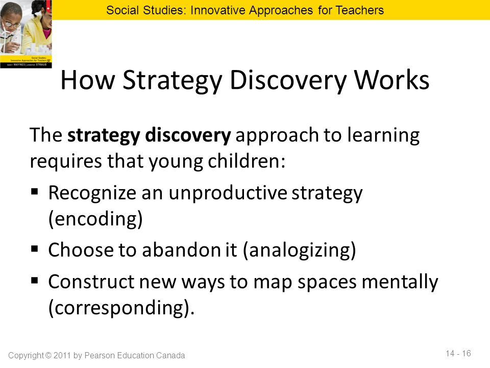 How Strategy Discovery Works The strategy discovery approach to learning requires that young children:  Recognize an unproductive strategy (encoding)