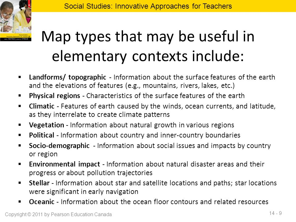 Map types that may be useful in elementary contexts include:  Landforms/ topographic - Information about the surface features of the earth and the el