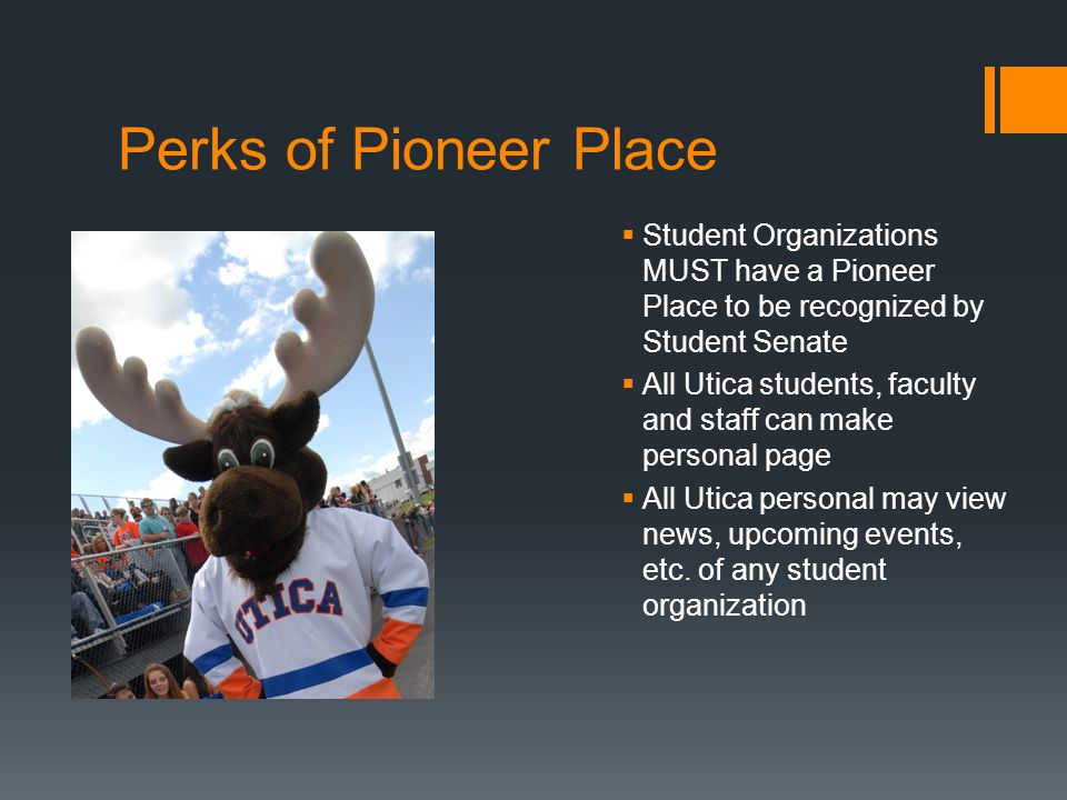 Perks of Pioneer Place  Student Organizations MUST have a Pioneer Place to be recognized by Student Senate  All Utica students, faculty and staff can make personal page  All Utica personal may view news, upcoming events, etc.