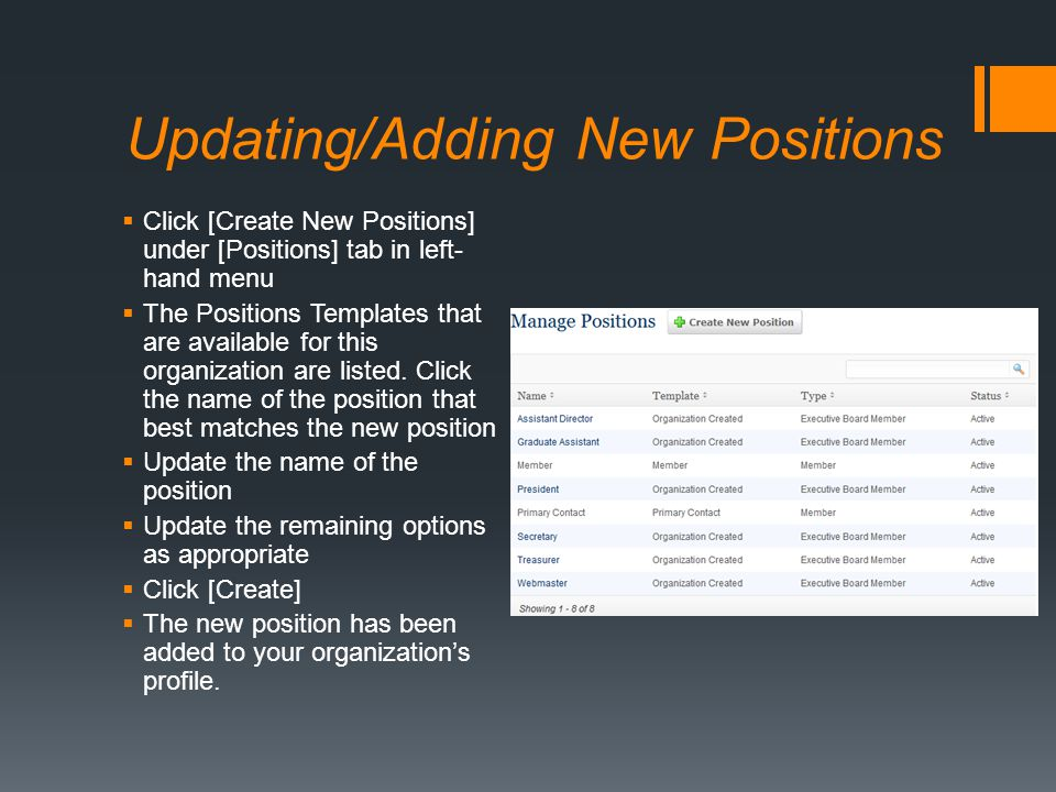 Updating/Adding New Positions  Click [Create New Positions] under [Positions] tab in left- hand menu  The Positions Templates that are available for this organization are listed.