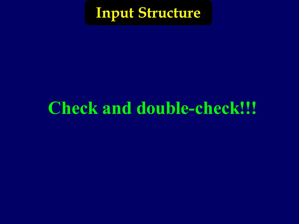 Input Structure Check and double-check!!!