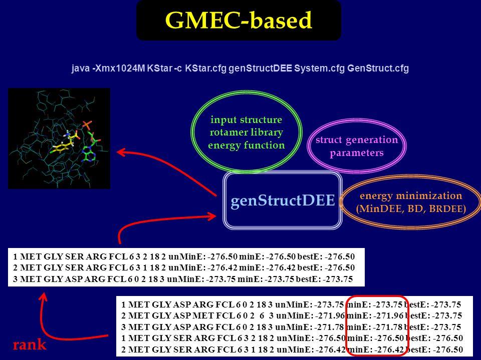 GMEC-based java -Xmx1024M KStar -c KStar.cfg genStructDEE System.cfg GenStruct.cfg 1 MET GLY ASP ARG FCL 6 0 2 18 3 unMinE: -273.75 minE: -273.75 bestE: -273.75 2 MET GLY ASP MET FCL 6 0 2 6 3 unMinE: -271.96 minE: -271.96 bestE: -273.75 3 MET GLY ASP ARG FCL 6 0 2 18 3 unMinE: -271.78 minE: -271.78 bestE: -273.75 1 MET GLY SER ARG FCL 6 3 2 18 2 unMinE: -276.50 minE: -276.50 bestE: -276.50 2 MET GLY SER ARG FCL 6 3 1 18 2 unMinE: -276.42 minE: -276.42 bestE: -276.50 genStructDEE input structure rotamer library energy function struct generation parameters energy minimization (MinDEE, BD, B RDEE ) 1 MET GLY SER ARG FCL 6 3 2 18 2 unMinE: -276.50 minE: -276.50 bestE: -276.50 2 MET GLY SER ARG FCL 6 3 1 18 2 unMinE: -276.42 minE: -276.42 bestE: -276.50 3 MET GLY ASP ARG FCL 6 0 2 18 3 unMinE: -273.75 minE: -273.75 bestE: -273.75 rank
