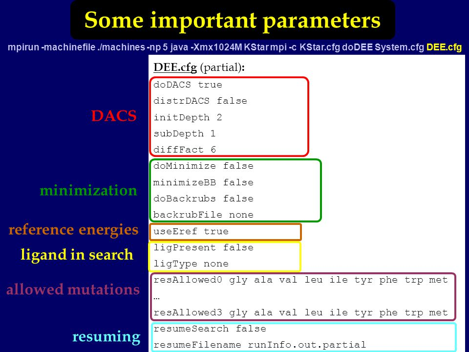 Some important parameters mpirun -machinefile./machines -np 5 java -Xmx1024M KStar mpi -c KStar.cfg doDEE System.cfg DEE.cfg DEE.cfg (partial) : doDACS true distrDACS false initDepth 2 subDepth 1 diffFact 6 doMinimize false minimizeBB false doBackrubs false backrubFile none useEref true ligPresent false ligType none resAllowed0 gly ala val leu ile tyr phe trp met … resAllowed3 gly ala val leu ile tyr phe trp met resumeSearch false resumeFilename runInfo.out.partial DACS minimization reference energies allowed mutations resuming ligand in search