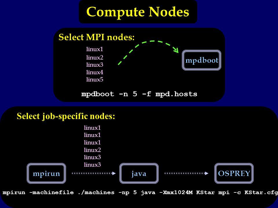 mpirunjavaOSPREY Select MPI nodes: linux1 linux2 linux3 linux4 linux5 mpdboot mpdboot -n 5 -f mpd.hosts linux1 linux2 linux3 mpirun -machinefile./machines -np 5 java -Xmx1024M KStar mpi -c KStar.cfg Select job-specific nodes: