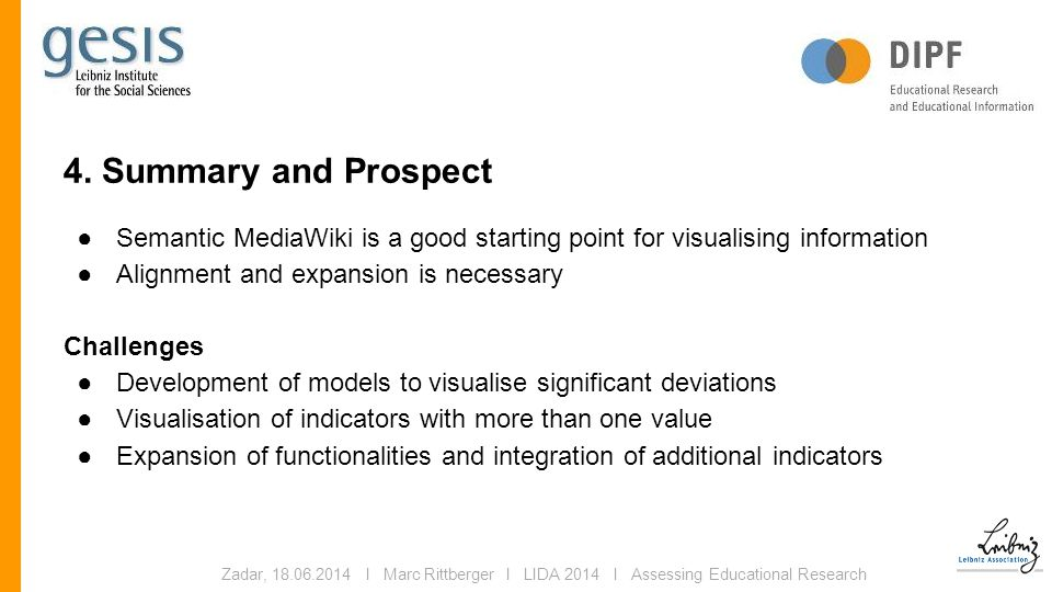 4. Summary and Prospect ●Semantic MediaWiki is a good starting point for visualising information ●Alignment and expansion is necessary Challenges ●Dev
