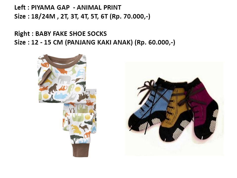 Left : PIYAMA GAP - ANIMAL PRINT Size : 18/24M, 2T, 3T, 4T, 5T, 6T (Rp.