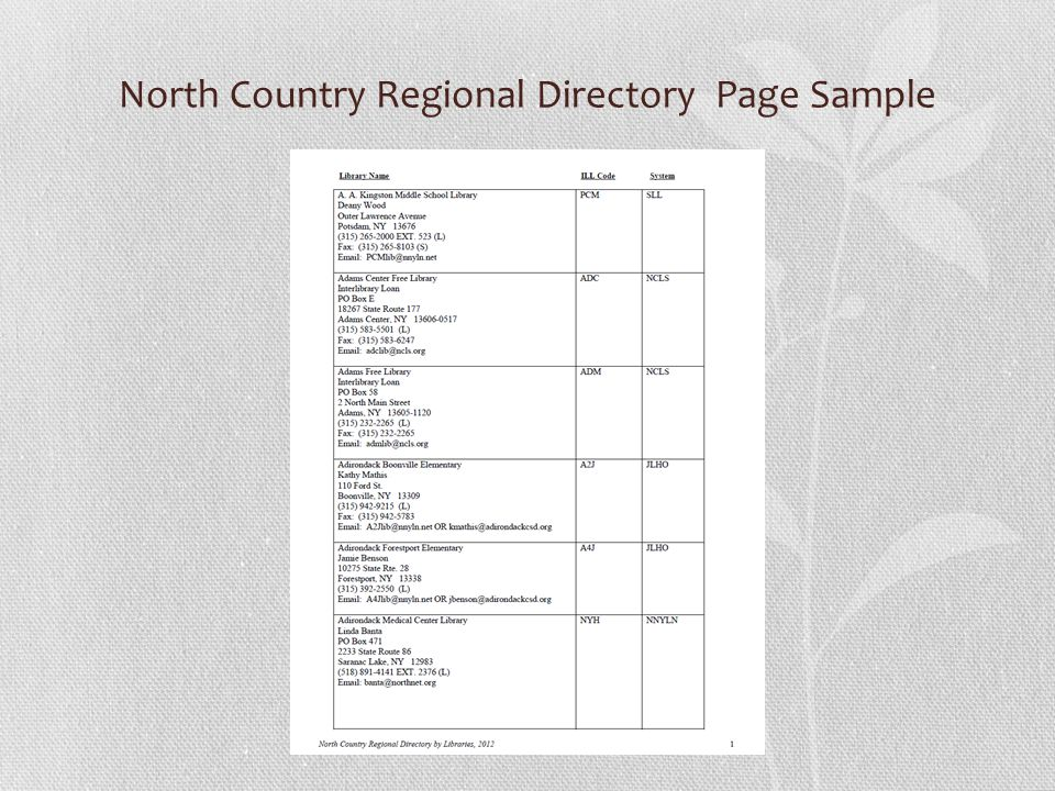North Country Regional Directory Page Sample