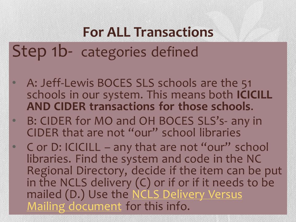 For ALL Transactions Step 1c Use these examples as a reference: Code library and system category W4J (CIDER & ICICILL) Ohio Elementary, JL SLS - ours A OHPM (CIDER) Holland Patent MS, OH BOCES SLS B WAT (ICICILL) Watertown Public, NCLS C TIC (ICICILL) Black Watch Memorial, CVES D