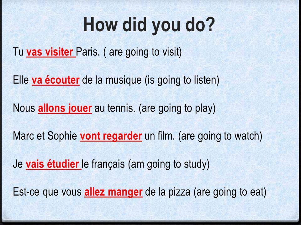 Tu ____________Paris. ( are going to visit) Elle ___________ de la musique (is going to listen) Nous _________ au tennis. (are going to play) Marc et