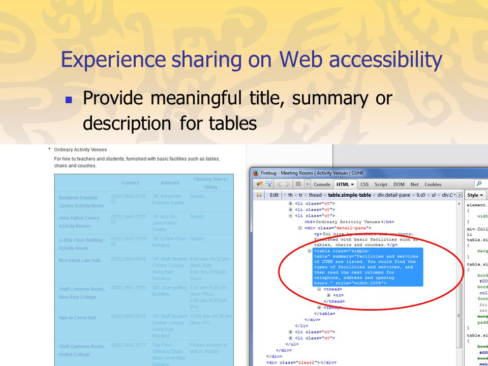 Provide meaningful title, summary or description for tables Experience sharing on Web accessibility