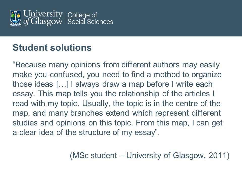 Student solutions Because many opinions from different authors may easily make you confused, you need to find a method to organize those ideas […] I always draw a map before I write each essay.
