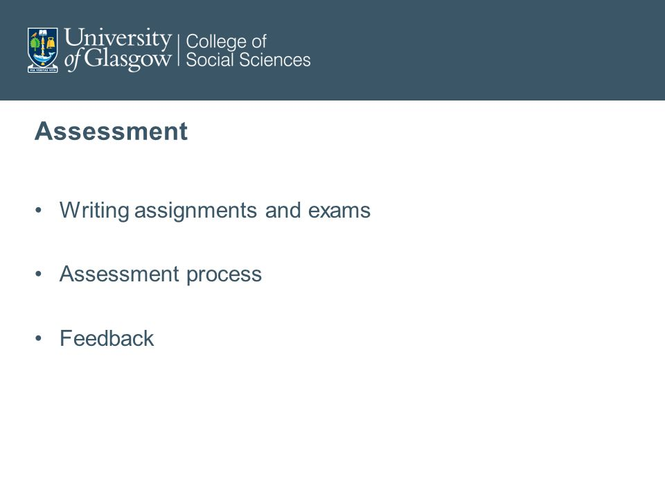 Assessment Writing assignments and exams Assessment process Feedback