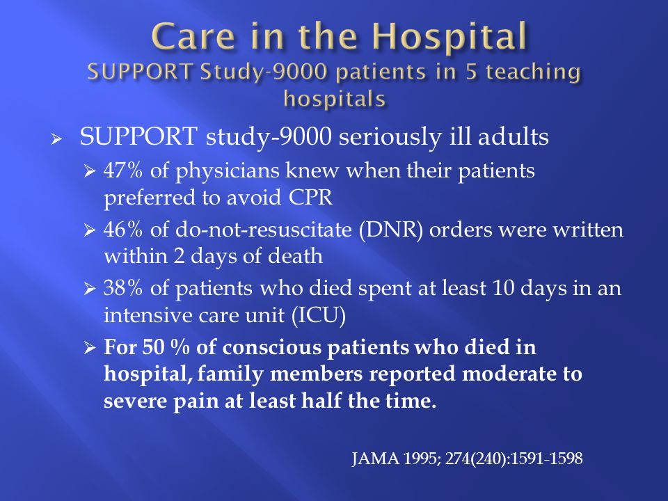  SUPPORT study-9000 seriously ill adults  47% of physicians knew when their patients preferred to avoid CPR  46% of do-not-resuscitate (DNR) orders were written within 2 days of death  38% of patients who died spent at least 10 days in an intensive care unit (ICU)  For 50 % of conscious patients who died in hospital, family members reported moderate to severe pain at least half the time.