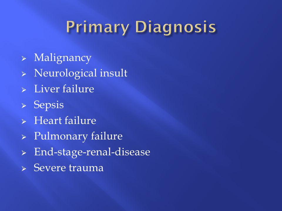  Malignancy  Neurological insult  Liver failure  Sepsis  Heart failure  Pulmonary failure  End-stage-renal-disease  Severe trauma