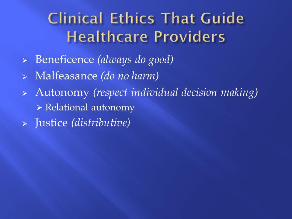 Beneficence (always do good)  Malfeasance (do no harm)  Autonomy (respect individual decision making)  Relational autonomy  Justice (distributive)