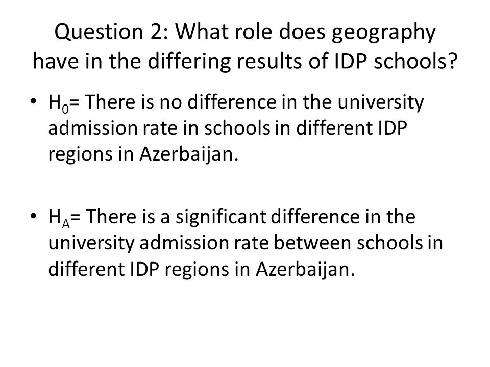 Question 2: What role does geography have in the differing results of IDP schools.