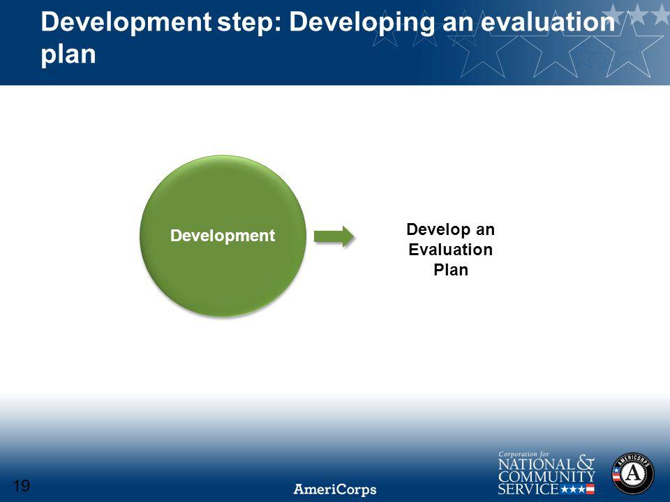 Development step: Developing an evaluation plan Development Develop an Evaluation Plan 19