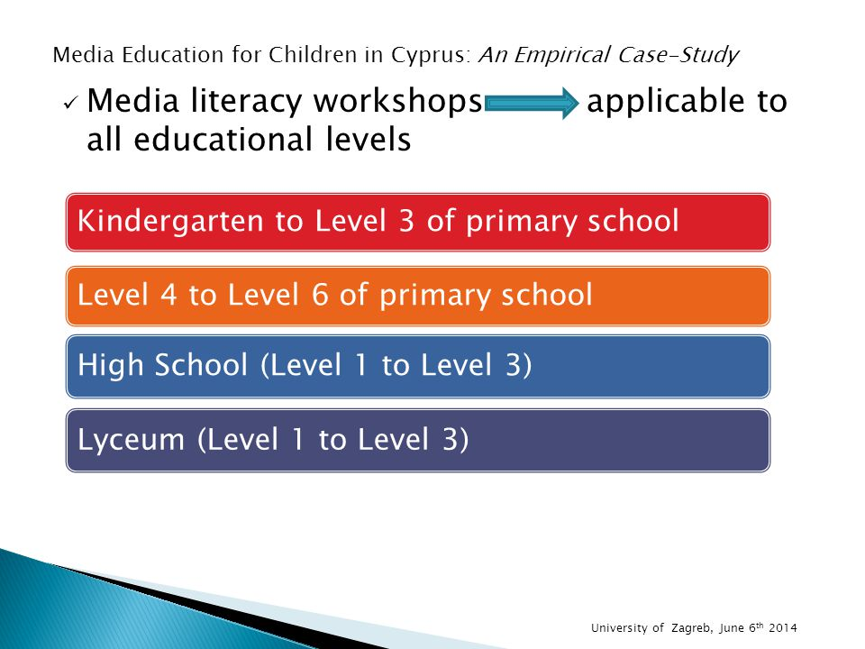 Media literacy workshops applicable to all educational levels Kindergarten to Level 3 of primary school Level 4 to Level 6 of primary school High School (Level 1 to Level 3) Lyceum (Level 1 to Level 3) Media Education for Children in Cyprus: An Empirical Case-Study University of Zagreb, June 6 th 2014