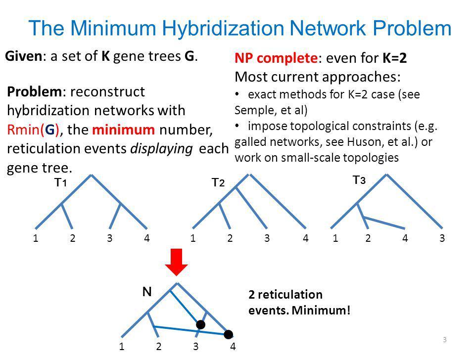The Minimum Hybridization Network Problem Given: a set of K gene trees G.