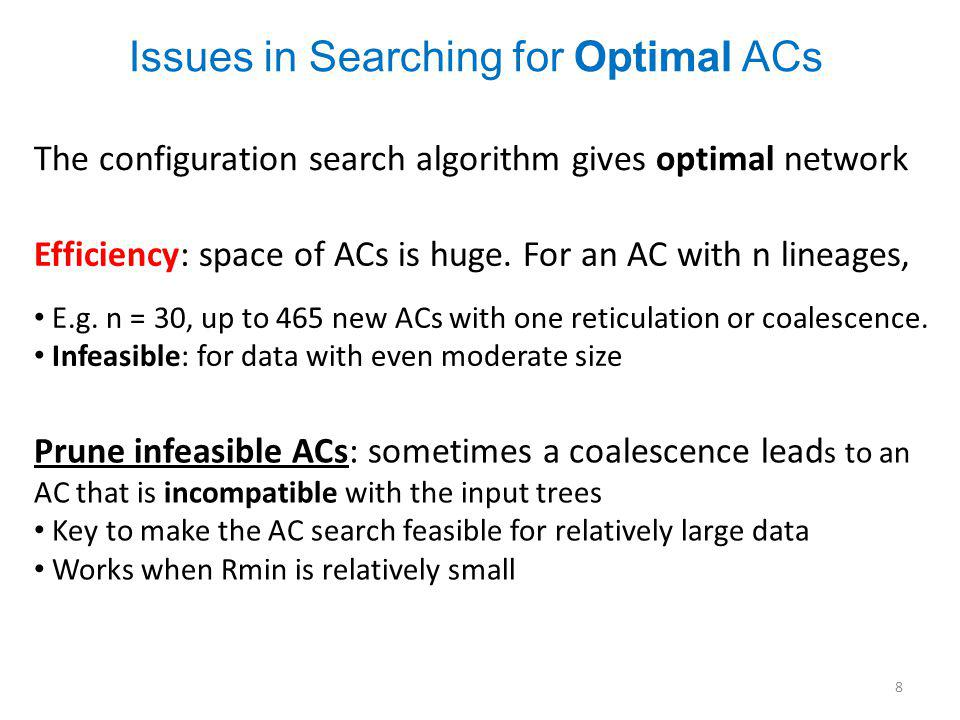 The configuration search algorithm gives optimal network Efficiency: space of ACs is huge.