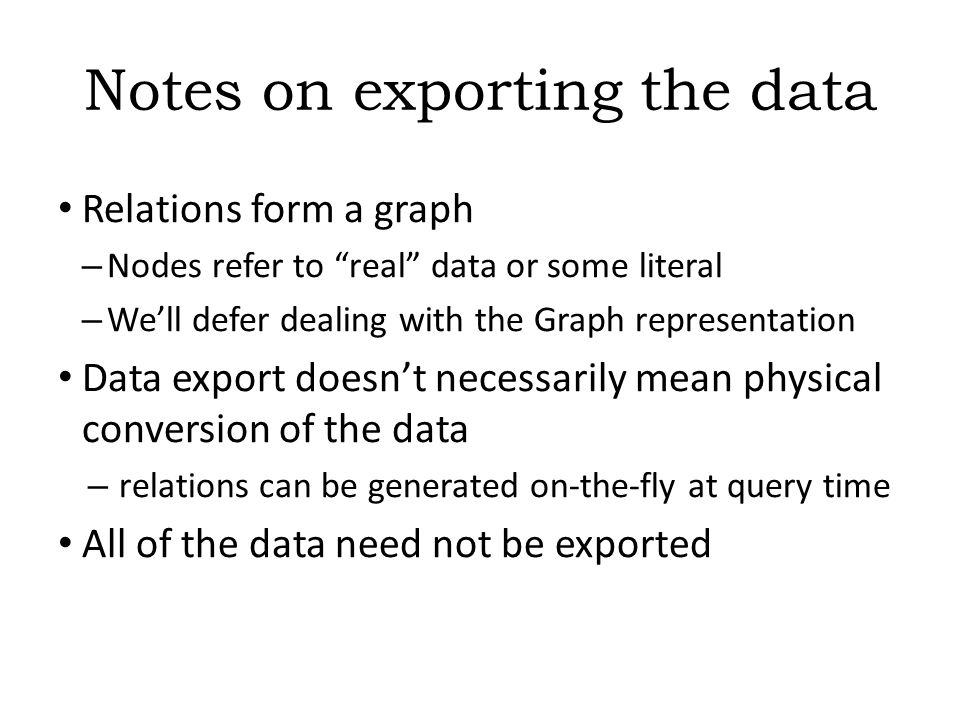 Combine with different datasets Using, e.g., the Person , the dataset can be combined with other sources For example, data in Wikipedia can be extracted using dedicated tools – e.g., the dbpedia project can extract the infobox information from Wikipedia already…dbpedia