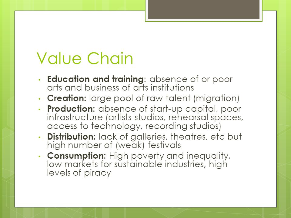 Value Chain Education and training : absence of or poor arts and business of arts institutions Creation: large pool of raw talent (migration) Producti