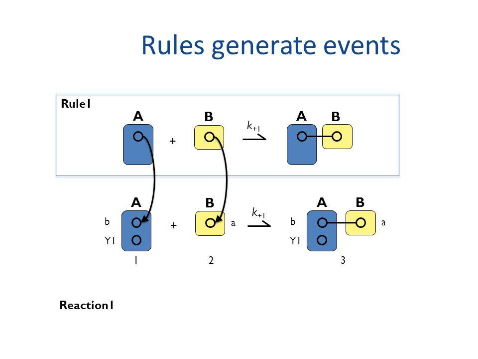 Rules generate events A B + k +1 A B Rule1 A b Y1 B a A b B a k +1 + Reaction1 123