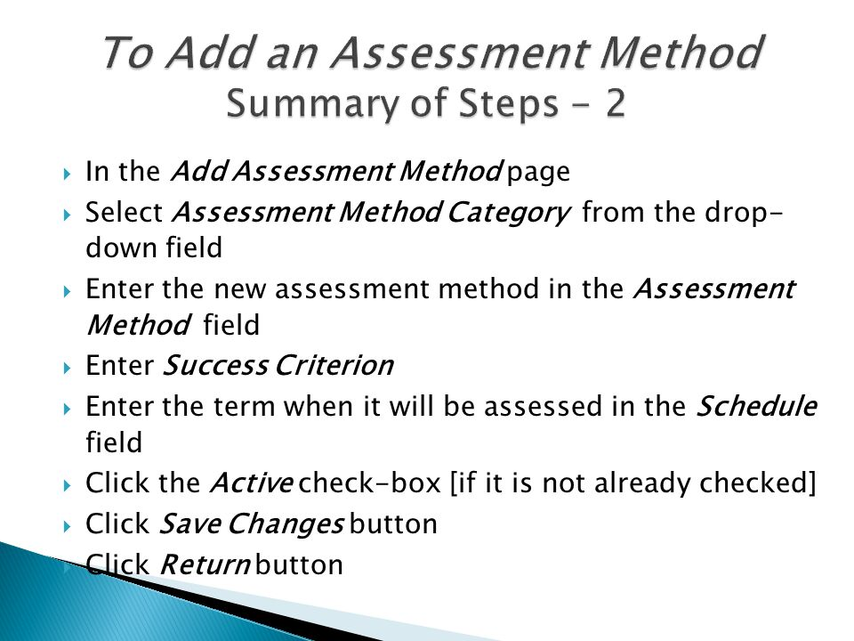  Select Assessment Unit from the top drop down menu Assessment Unit