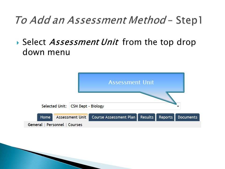  Select Course Assessment Plan Tab Courses Assessment Plan tab