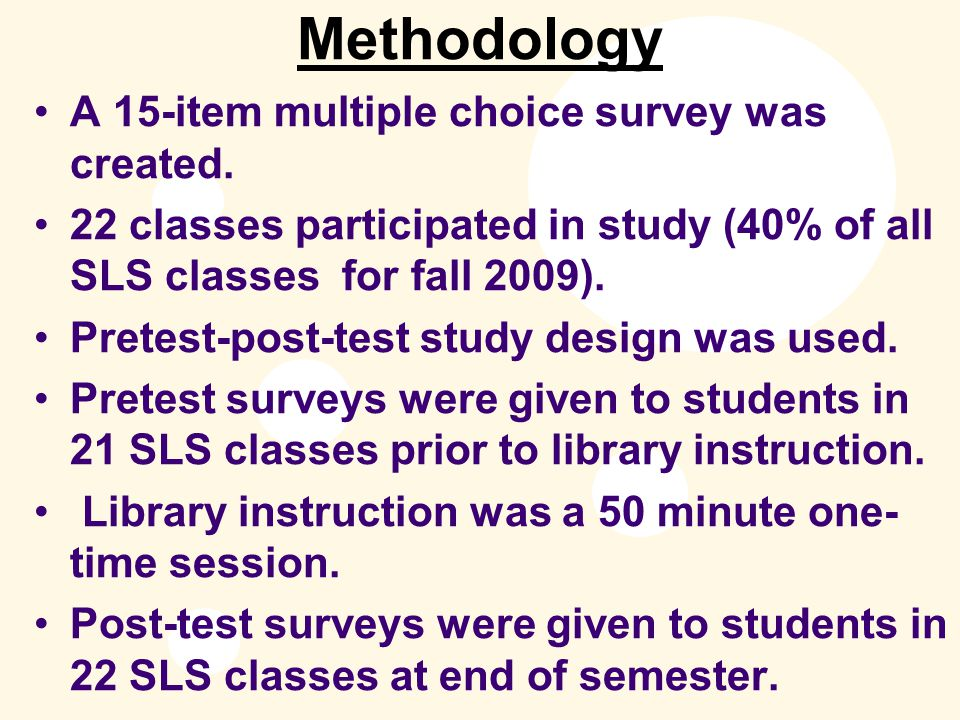 Methodology A 15-item multiple choice survey was created.