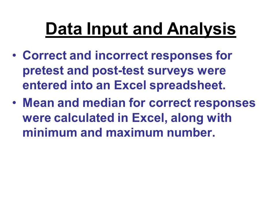 Correct and incorrect responses for pretest and post-test surveys were entered into an Excel spreadsheet. Mean and median for correct responses were c
