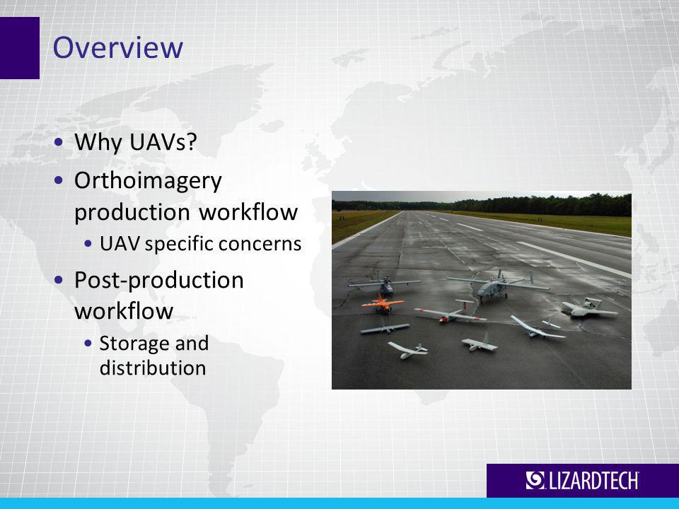 Overview Why UAVs? Orthoimagery production workflow UAV specific concerns Post-production workflow Storage and distribution