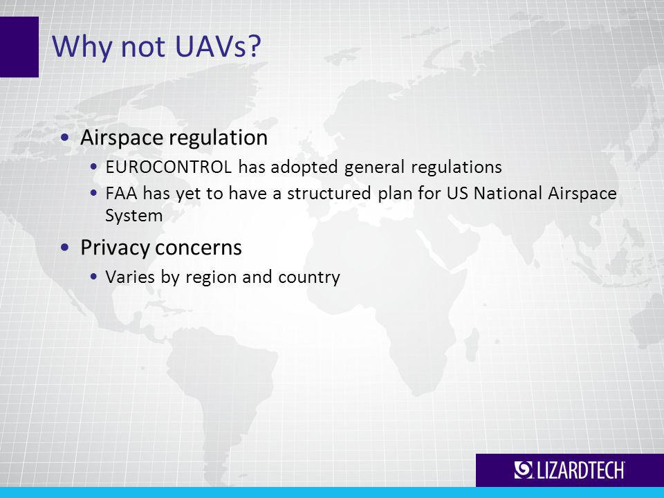 Why not UAVs? Airspace regulation EUROCONTROL has adopted general regulations FAA has yet to have a structured plan for US National Airspace System Pr
