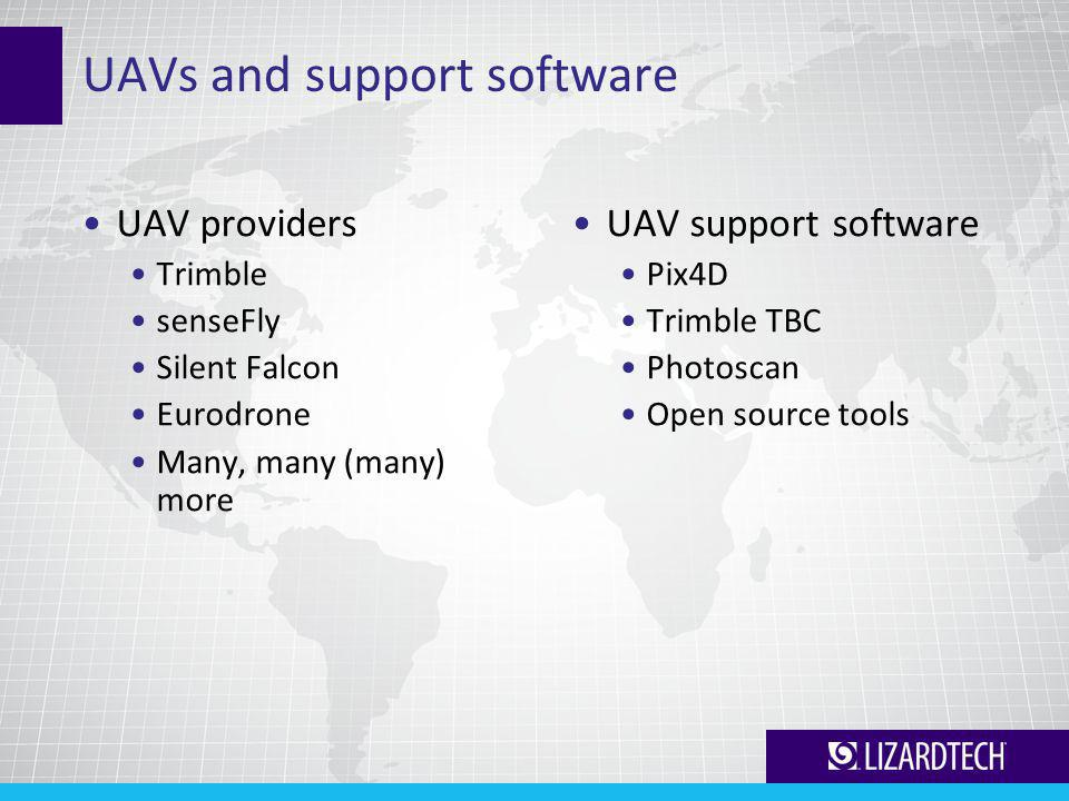 UAVs and support software UAV providers Trimble senseFly Silent Falcon Eurodrone Many, many (many) more UAV support software Pix4D Trimble TBC Photoscan Open source tools