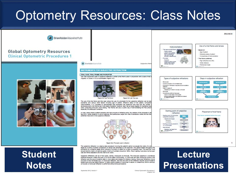 Optometry Resources: Class Notes Student Notes Lecture Presentations
