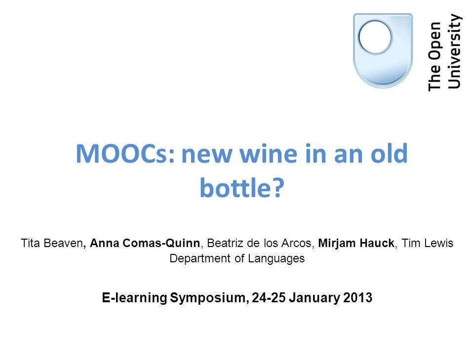 MOOCs: new wine in an old bottle.