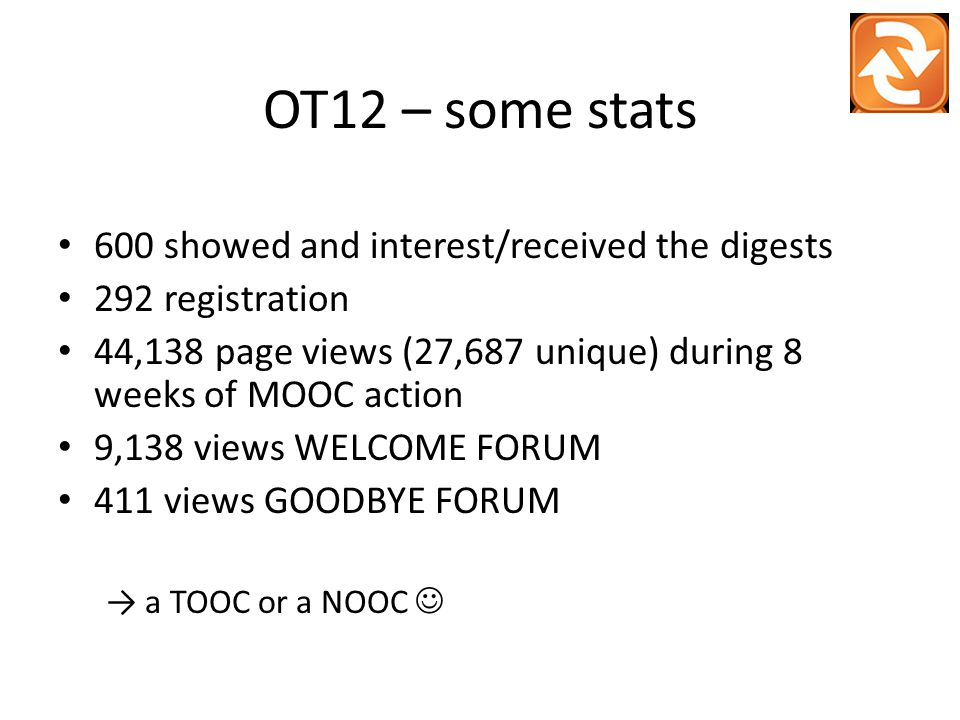 OT12 – some stats 600 showed and interest/received the digests 292 registration 44,138 page views (27,687 unique) during 8 weeks of MOOC action 9,138 views WELCOME FORUM 411 views GOODBYE FORUM → a TOOC or a NOOC